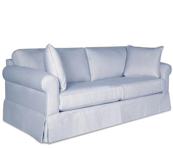 Blue And White Ticking Striped Sofa Ticking Pinterest