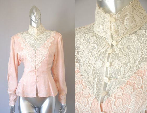 Mindy victorian silk lace blouse