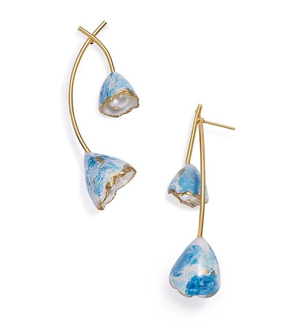 blue flower bud drop earrings