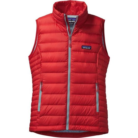 Patagonia Down Sweater Vest (5.835 RUB) ❤ liked on Polyvore featuring outerwear, vests, travel vest, slim fit vest, patagonia, red sweater vest and red waistcoat