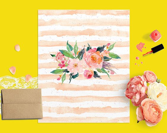 Floral Printable Art Print, Watercolor Flower Bouquet Nursery Print, Pastel Pink Stripes Pink Nursery Decor Girl's Room Coral Botanical Art