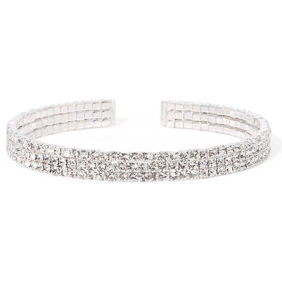 Vieste Rhinestone 3-Row Silver-Tone Cuff Bracelet ($13) ❤ liked on Polyvore featuring jewelry, bracelets, cuff bangle, cuff bracelet, rhinestone bangle, hinged cuff bracelet and bangle cuff bracelet