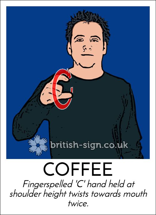 Today's #BritishSignLanguage (BSL) sign is: COFFEE #fairtrademonth