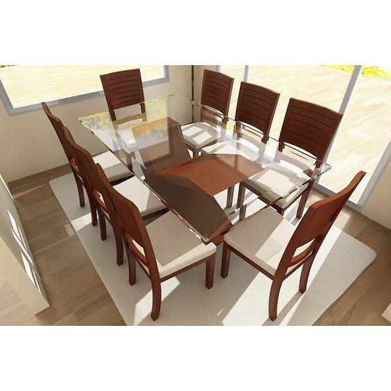 Diseño de comedor familiar Con detalles en madera y cristal