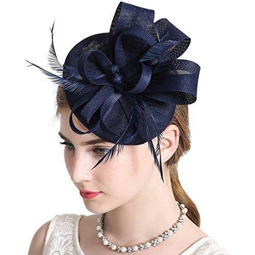 KRASTAL Women Wedding Fascinator Hat Feather Flower Hair Band Church Tea Party Headdress