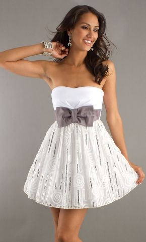 White Mini Length Dresses With Bowknot
