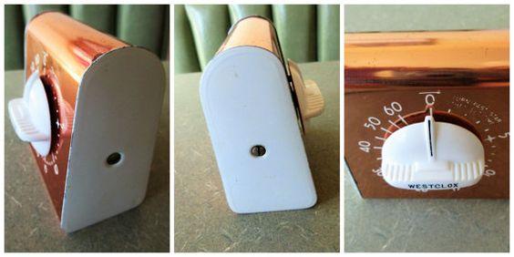 Vintage Timer Kitchen Timer Copper Westclox Timer by BettyAndDot