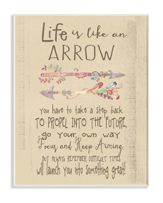 Life Is like An Arrow' Icon Inspirational Typography Wall Plaque