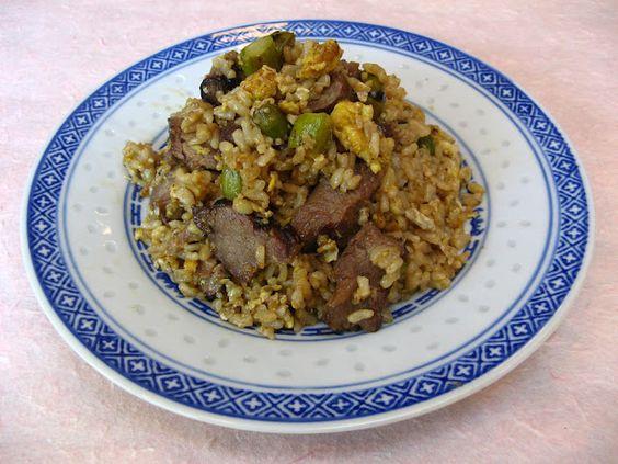 Lamb and Asparagus Fried Rice (蘆筍羊肉炒飯, Lou4 Seon2 Joeng4  Juk6 Caau2 Faan6)