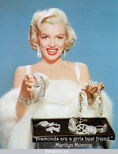 """Marilyn Monroe """"Diamonds are a girls best friends"""" Quote"""