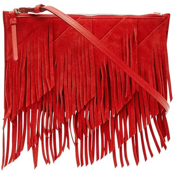 Reiss Fringed Shoulder Bag , Red found on Polyvore featuring bags, handbags, shoulder bags, red, fringe purse, man shoulder bag, evening handbags, purse shoulder bag and leather hand bags