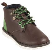 These are cute little tough guy boots. They will go with all his outfits and be perfect for trekking around.