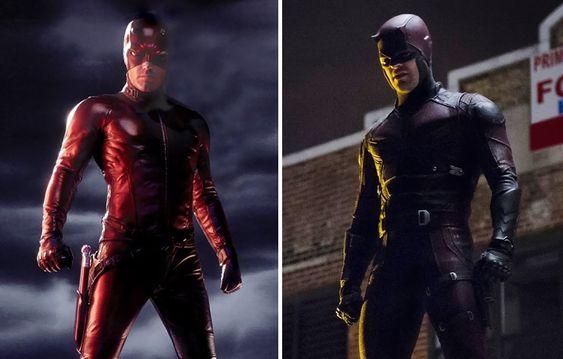 Ben Affleck's Daredevil (L) Charlie Cox's Daredevil (R)