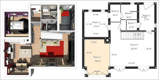 3d interior design floor plans and software on pinterest Room layout design software