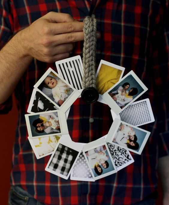 Polaroid photo wreath