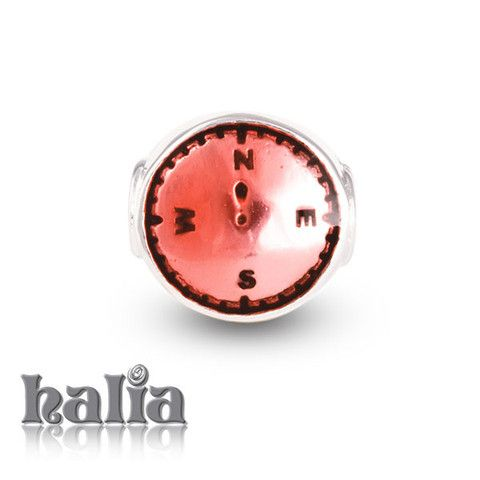 Compass: A reminder to those who are never lost for long in red enamel on sterling silver: designed exclusively by Halia, this bead fits other popular bead-style charm bracelets as well. Sterling silver, hypo-allergenic and nickel free.    $42.00