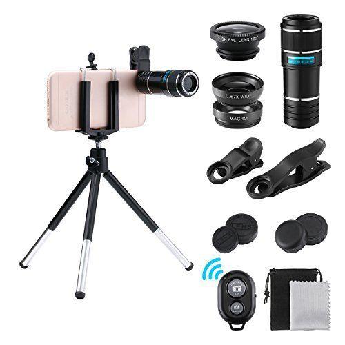 180 Grad Fisheye Objektiv 0.67X Weitwinkel 12X Teleobjektiv Makroobjektiv mit bluetooth Remote Shutter Mini-Stativ Perfekte f/ür Single-Lens Smartphone GLISTENY 4 in 1 Objektiv Set Handy Objektiv