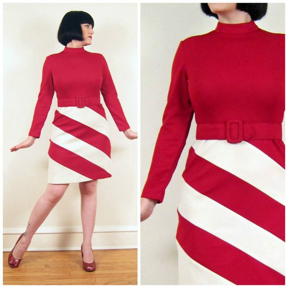 Vintage 1960s Day Dress in Red and White Stripe / by BasyaBerkman