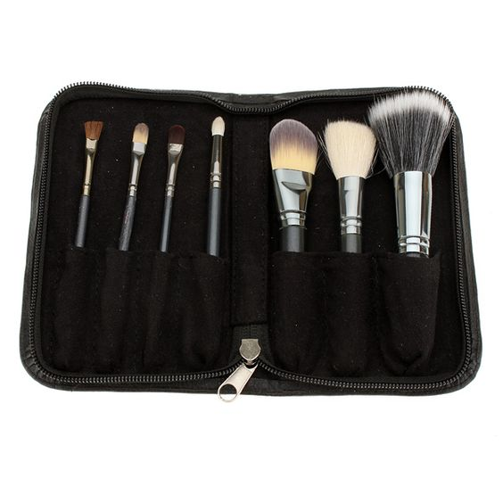 Professional Cosmetic Makeup 7pcs Brush Set with Black Case