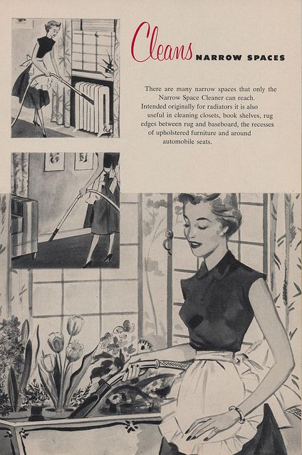 A lovely multi-image illustration for Electrolux Vacuums from 1952. #vintage #1950s #ad #cleaning #homemaker
