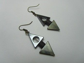 Shell & Hematite Triangle & Black Paper Bead Earrings, Jewellery by Red Paper House