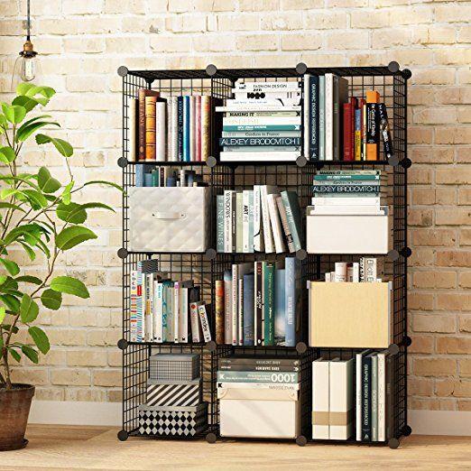 Kousi Wire Grids Storage Cubes Bookcase Organizer Shelf Cabinet Diy Modular Shelving Units 12 Cubes Black Cube Storage Cube Bookcase Bookcase Organization
