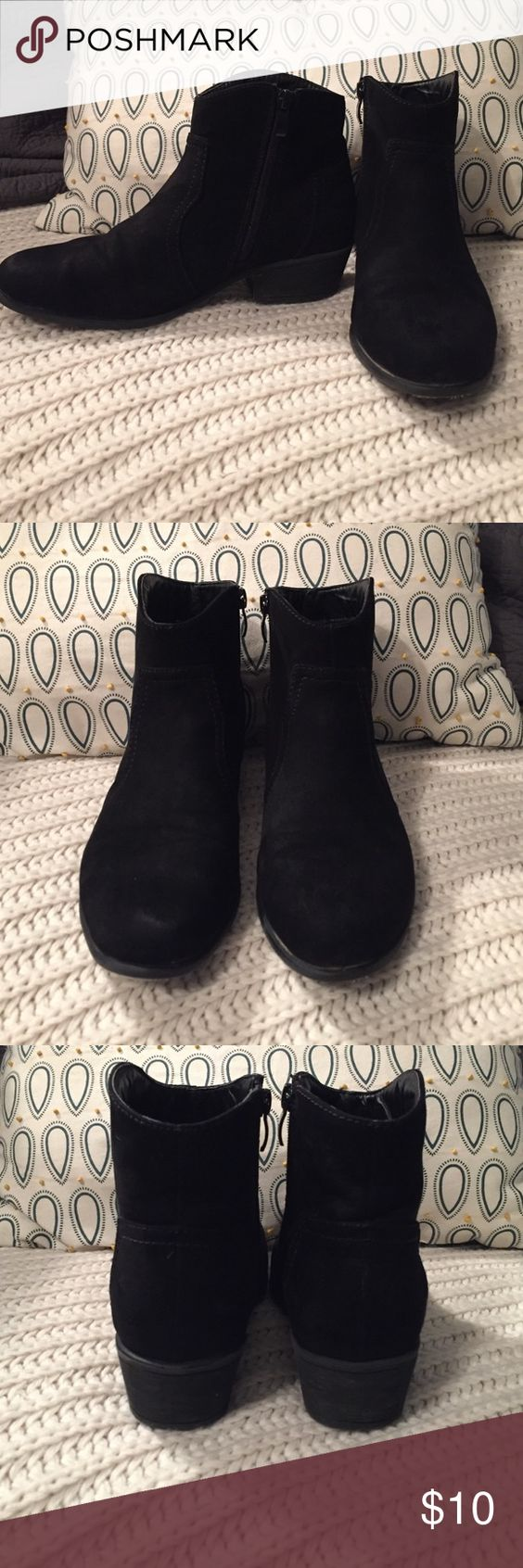 Apricot Lane Black Booties Black booties bough from Apricot Lane. They are a tad dirty and the felt soles rubbed off on the bottom, but other than that they are good! Shoes Ankle Boots & Booties