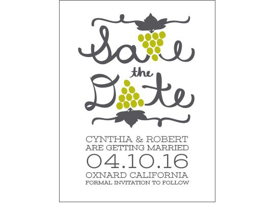 Grape Bunch Letters Save the Dates - perfect for a wine-themed or