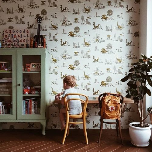 Decoraçao dinossauro com papel de parede para quarto infantil ou quarto de bebê
