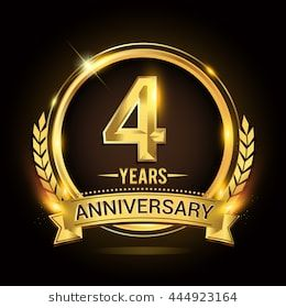 Celebrating 4 Years Anniversary Logo With Golden Ring And Ribbon Laurel Wreath Vector Design 4周年記念 記念ロゴ ポスターデザイン