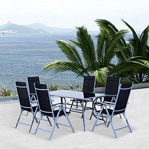Outsunny Set Mobili Da Giardino Tavolo Con 6 Sedie Pieghevoli In Alluminio E Tessuto Di Textilene Mobili Da Giardino Sedie Pieghevoli Giardino