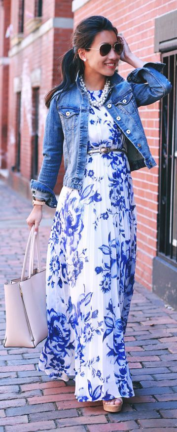 Blue Floral Print White Street Style Maxi Dress & Jacket Magnificent Outfit: