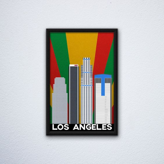 """Los Angeles Skyline Poster ft. the US Bank Tower, Aon Center, and the Gas Company Tower in the LA Flag colors (12""""x18"""") by WEPdesign on Etsy"""