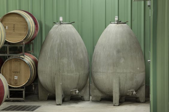 """Nomblott cement """"eggs"""" . . . one of the ways we increase complexity in our XCV White Rhone blend."""