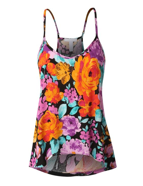 LE3NO Womens Flowy Floral Tank Top with Adjustable Straps (CLEARANCE)  More at: http://livinglearningandloving.com/things-we-like-and-love/