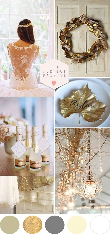 Golden Winter Wedding Ideas - www.theperfectpalette.com - Color Ideas for Weddings + Parties