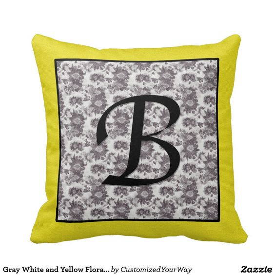 Gray White and Yellow Floral Monogram B Pillow. http://www.zazzle.com/customizedyourway?rf=238200194340614103