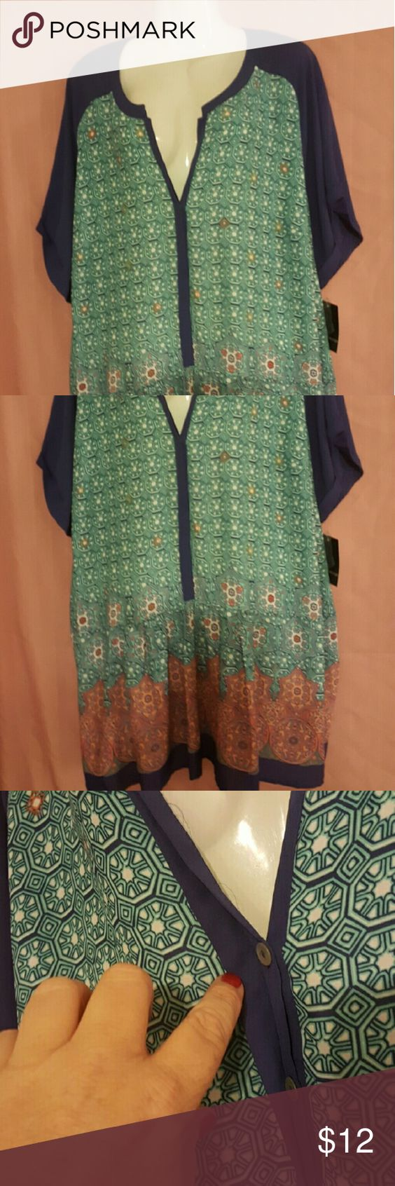 Colorful smock blouse NWT never worn..cute and original Signature Studio Tops Blouses