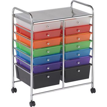 Rolling carts are often a great solution when closet and shelf space is limited. They are invaluable for teachers who must travel from room to room. When setting up for a lesson, the rolling cart offers the added convenience of taking the supplies to students' seats.: