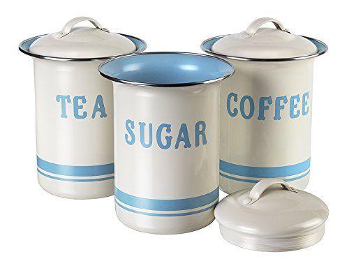 Jamie Oliver Vintage 3er Set Behälter mit Deckel Aufbewahrungsdosen für Zucker Tee Kaffee