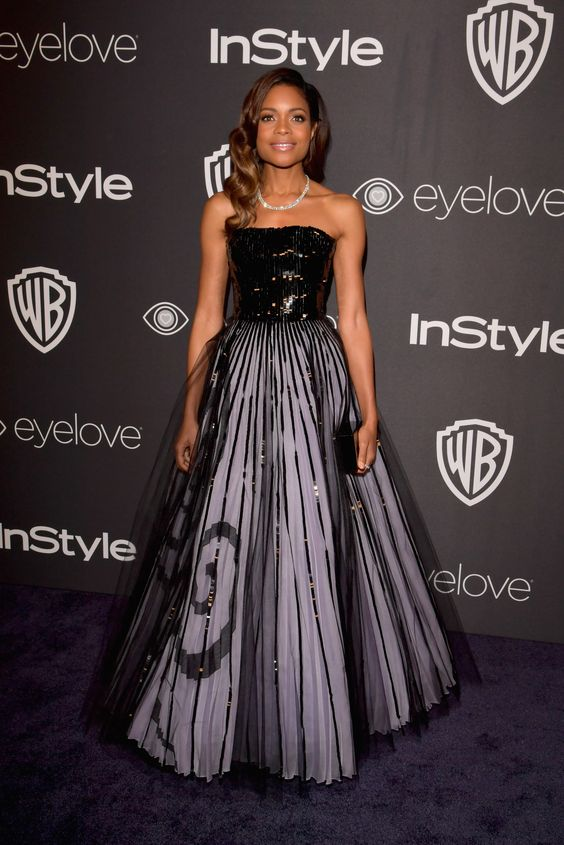 Naomie Harris also wore an Armani Privé gown to the InStyle Golden Globes party. #ArmaniStars