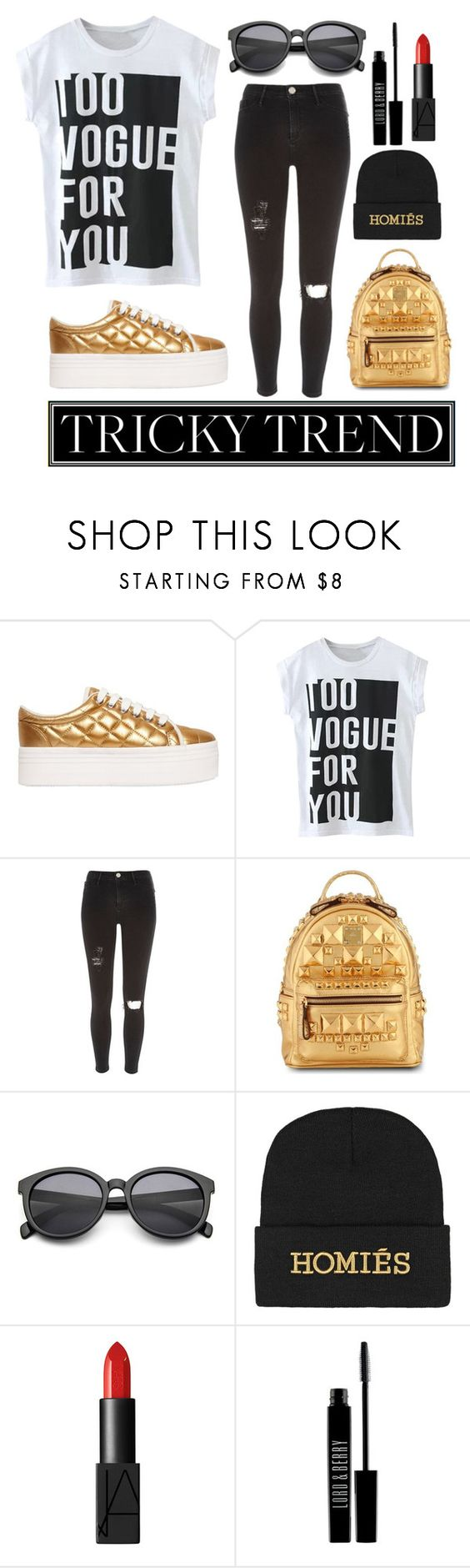 """Gold Vogue"" by ethenknowsfashion ❤ liked on Polyvore featuring Jeffrey Campbell, River Island, MCM, Brian Lichtenberg, NARS Cosmetics, Lord & Berry, TrickyTrend, vogue and platformsneakers"