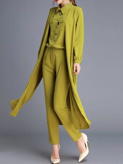 Army Green Shirt Collar Long Sleeve Three Pieces Jumpsuit