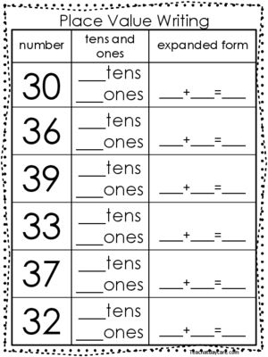 10 Place Value Worksheets Writing Tens And Ones And Expanded Form Kdg 1st Grade 2nd Grade Math Worksheets Place Value Worksheets 1st Grade Math Worksheets
