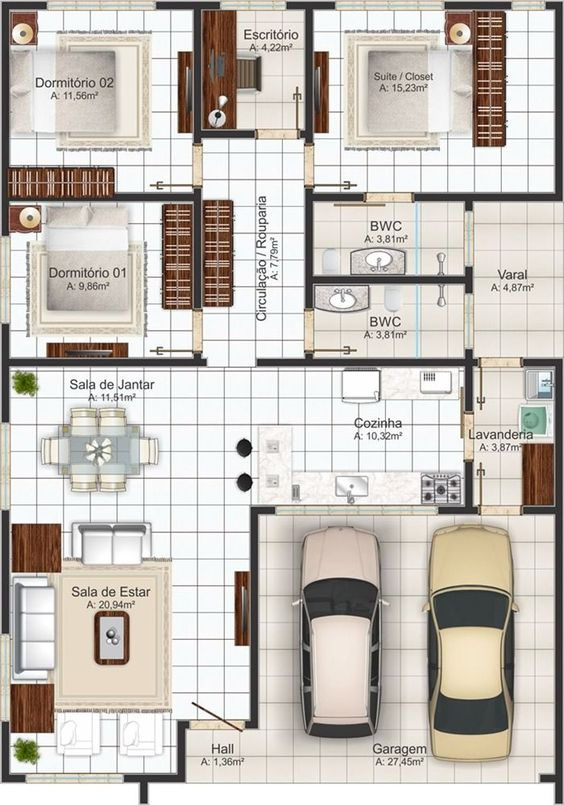 96 Fachadas de casas com planta para construir | Soprojetos