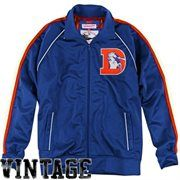 Mitchell & Ness Denver Broncos Snap Pass Full Zip Vintage Track Jacket - Royal Blue