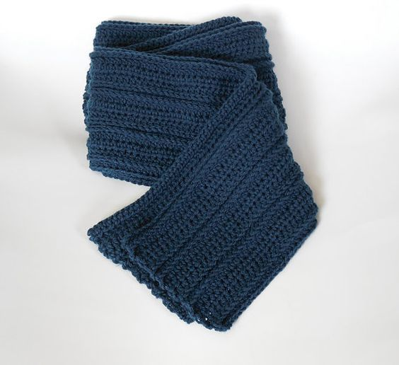 Blue Textured Mens Scarf Long Warm by APassionForHandmade on Etsy, $40.95