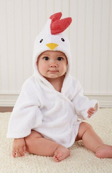 Free shipping and returns on Baby Aspen 'Barnyard Bathtime' Chicken Hooded Terry Robe (Baby) at Nordstrom.com. When baby starts smelling a little fowl and needs a bath, this clucky bathrobe crafted from soft cotton terry will keep your little one dry and toasty warm.