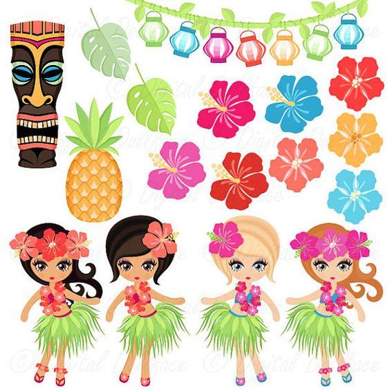 Idéal pour hawaïen - thèmes et luau parties ; Cet ensemble de cliparts comprend vahiné, tiki, hibsicus images et plus encore ! Vous pouvez