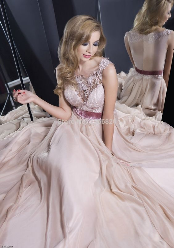 2014 Real Sample Gorgeous Sexy Fashion Peach Lace Long Women Evening Dresses Prom Dresses Chiffon $118.00